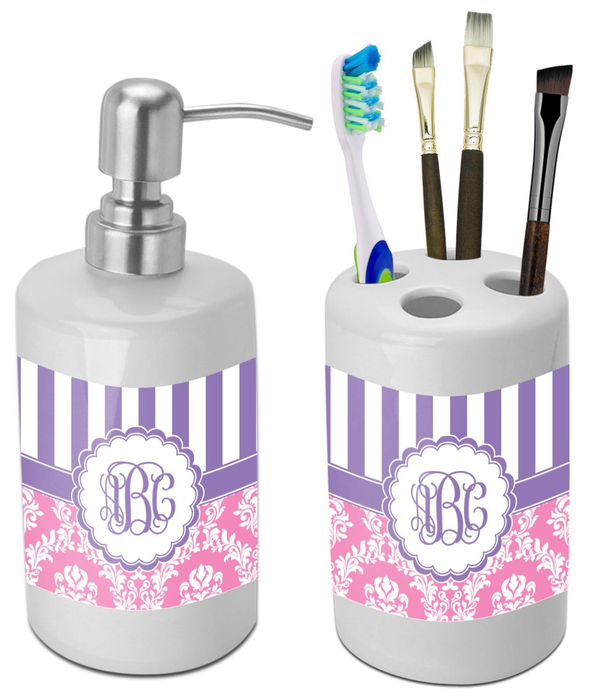 Pink & Purple Damask Bathroom Accessories Set (Ceramic ...