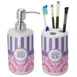 Pink & Purple Damask Bathroom Accessories Set (Ceramic) (Personalized)