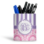 Pink & Purple Damask Ceramic Pen Holder