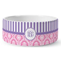 Pink & Purple Damask Ceramic Pet Bowl (Personalized)