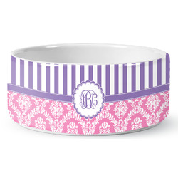 Pink & Purple Damask Ceramic Pet Bowl (Personalized)