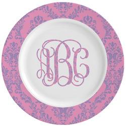 Pink & Purple Damask Ceramic Dinner Plates (Set of 4) (Personalized)