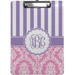 Pink & Purple Damask Clipboard (Personalized)