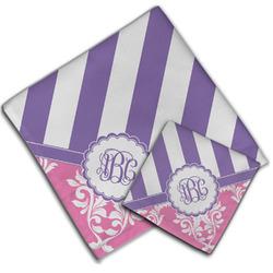 Pink & Purple Damask Cloth Napkin w/ Monogram