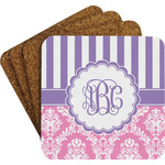 Pink & Purple Damask Coaster Set w/ Stand (Personalized)