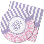 Pink & Purple Damask Rubber Backed Coaster (Personalized)