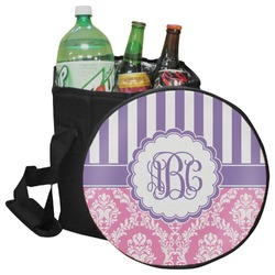 Pink & Purple Damask Collapsible Cooler & Seat (Personalized)