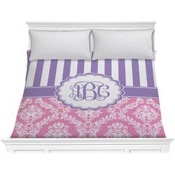 Pink & Purple Damask Comforter - King (Personalized)