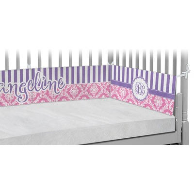 Pink & Purple Damask Crib Bumper Pads (Personalized)