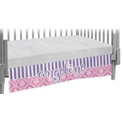 Pink & Purple Damask Crib Skirt (Personalized)