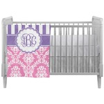 Pink & Purple Damask Crib Comforter / Quilt (Personalized)
