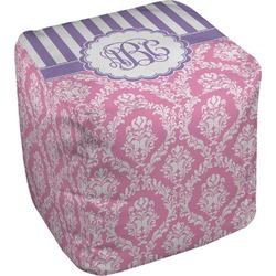 """Pink & Purple Damask Cube Pouf Ottoman - 18"""" (Personalized)"""