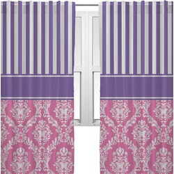 Pink & Purple Damask Curtains (2 Panels Per Set) (Personalized)