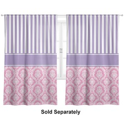 "Pink & Purple Damask Curtains - 20""x84"" Panels - Lined (2 Panels Per Set) (Personalized)"