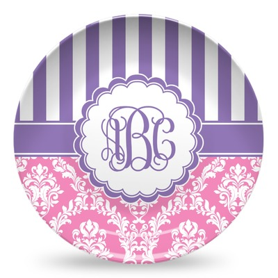 Pink & Purple Damask Microwave Safe Plastic Plate - Composite Polymer (Personalized)