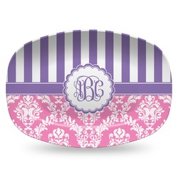 Pink & Purple Damask Plastic Platter - Microwave & Oven Safe Composite Polymer (Personalized)