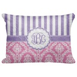 "Pink & Purple Damask Decorative Baby Pillowcase - 16""x12"" (Personalized)"