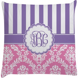 Pink & Purple Damask Decorative Pillow Case (Personalized)