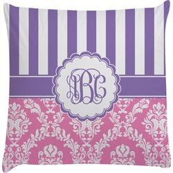Pink & Purple Damask Decorative Pillow Case (Personalized)