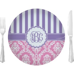 """Pink & Purple Damask 10"""" Glass Lunch / Dinner Plates - Single or Set (Personalized)"""