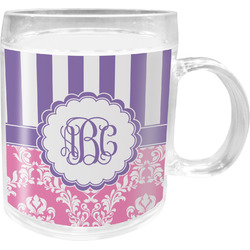 Pink & Purple Damask Acrylic Kids Mug (Personalized)