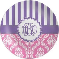 Pink & Purple Damask Melamine Plate (Personalized)