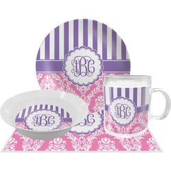 Pink & Purple Damask Dinner Set - 4 Pc (Personalized)