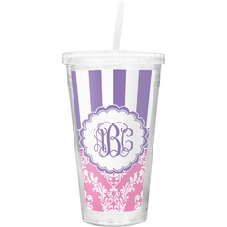 Pink & Purple Damask Double Wall Tumbler with Straw (Personalized)