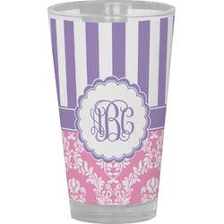 Pink & Purple Damask Drinking / Pint Glass (Personalized)