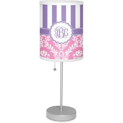 """Pink & Purple Damask 7"""" Drum Lamp with Shade Linen (Personalized)"""