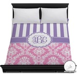 Pink & Purple Damask Duvet Cover (Personalized)