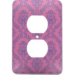 Pink & Purple Damask Electric Outlet Plate (Personalized)