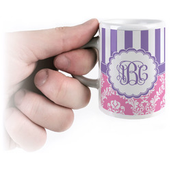 Pink & Purple Damask Espresso Cups (Personalized)