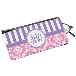 Pink & Purple Damask Genuine Leather Eyeglass Case (Personalized)
