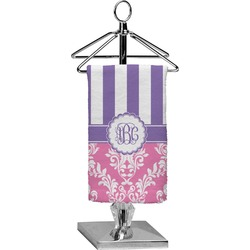 Pink & Purple Damask Finger Tip Towel - Full Print (Personalized)