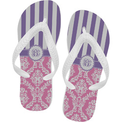 Pink & Purple Damask Flip Flops (Personalized)