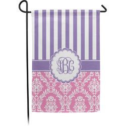 Pink & Purple Damask Garden Flag - Single or Double Sided (Personalized)