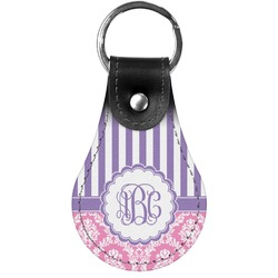 Pink & Purple Damask Genuine Leather  Keychain (Personalized)
