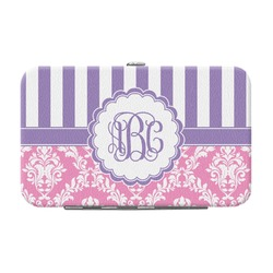 Pink & Purple Damask Genuine Leather Small Framed Wallet (Personalized)