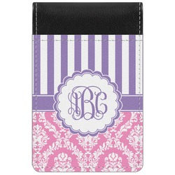 Pink & Purple Damask Genuine Leather Small Memo Pad (Personalized)