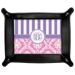 Pink & Purple Damask Genuine Leather Valet Tray (Personalized)