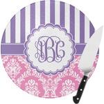 Pink & Purple Damask Round Glass Cutting Board (Personalized)