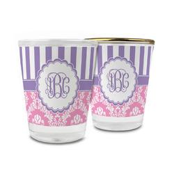 Pink & Purple Damask Glass Shot Glass - 1.5 oz (Personalized)