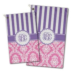 Pink & Purple Damask Golf Towel - Full Print w/ Monogram