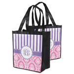 Pink & Purple Damask Grocery Bag (Personalized)