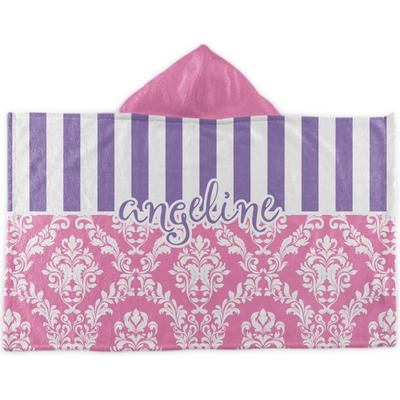 Pink Amp Purple Damask Hooded Towel Personalized