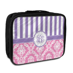 Pink & Purple Damask Insulated Lunch Bag (Personalized)