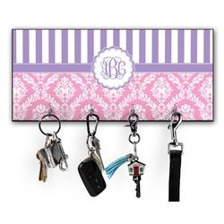 Pink & Purple Damask Key Hanger w/ 4 Hooks (Personalized)