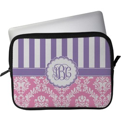 "Pink & Purple Damask Laptop Sleeve / Case - 13"" (Personalized)"