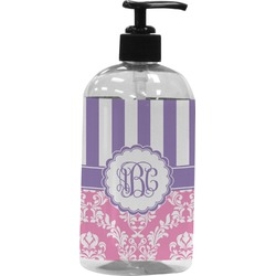 Pink & Purple Damask Plastic Soap / Lotion Dispenser (Personalized)